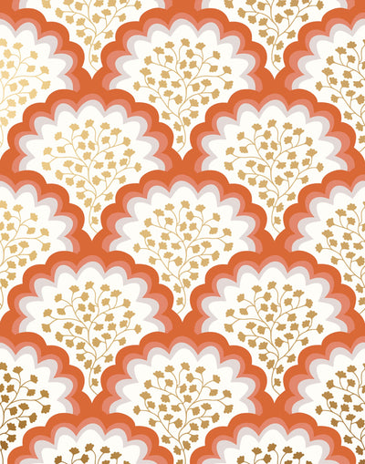Angelina (Coral) wallpaper features an off white background with graduated coral scallops and gold floral motif