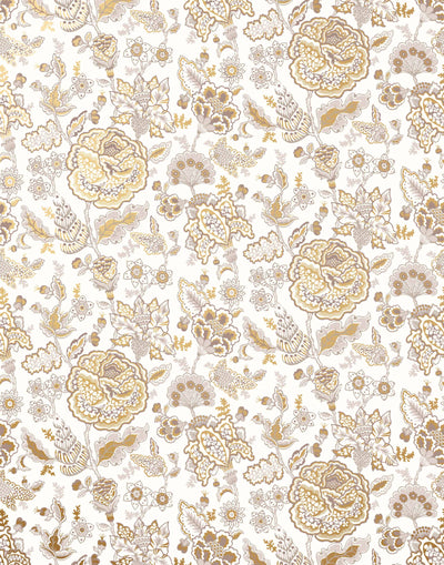 Florebela (Fawn) | A taupe, warm gray and metallic gold floral pattern on off white background