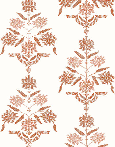Soldo (Coral) | A coral and off white pattern of snakes intertwined with flowers