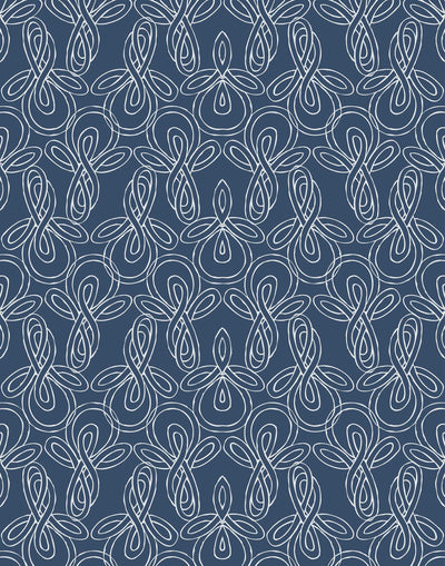 Knots (Indigo) wallpaper with nautical blue pattern