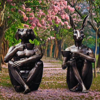 Dogman and Rabbitwoman drinking coffee - Pullman on the park, Melbourne, VIC, Australia