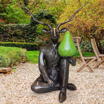 Deerman thought a pear a day would help him play (Bronze Sculpture)