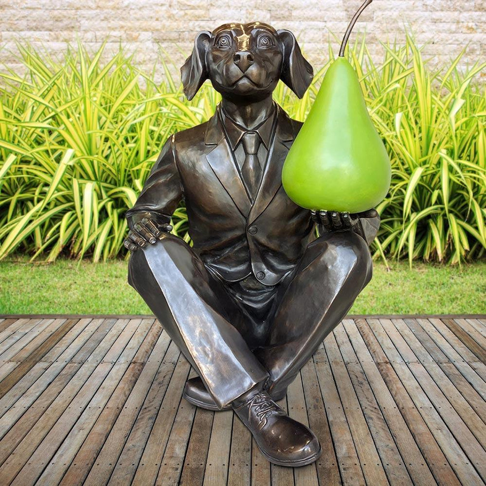 He thought a pear a day would help him play (Bronze Sculpture)