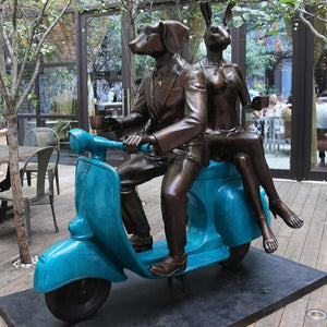 Travelling with Mr Blue Sky (Large vespa with blue patina)