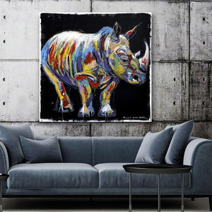 The rhino lived a colourful life (Original Painting)