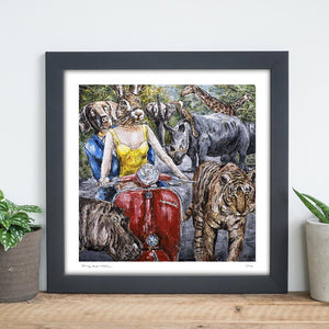 They were so happy to be in this painting because they were happiest around wildlife (Print)