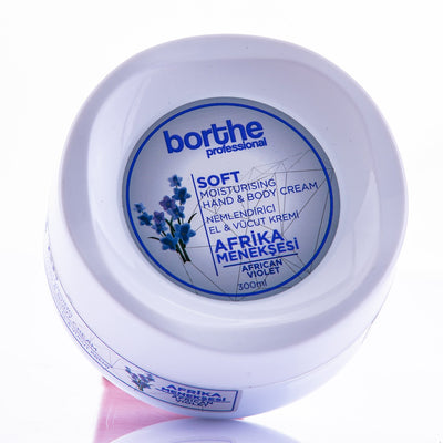 BORTHE Hand & Body Cream African Violet  Ultra Hydrating Formula, For Normal To Dry Hands, Fast Absorbing & Non Greasy 300ml