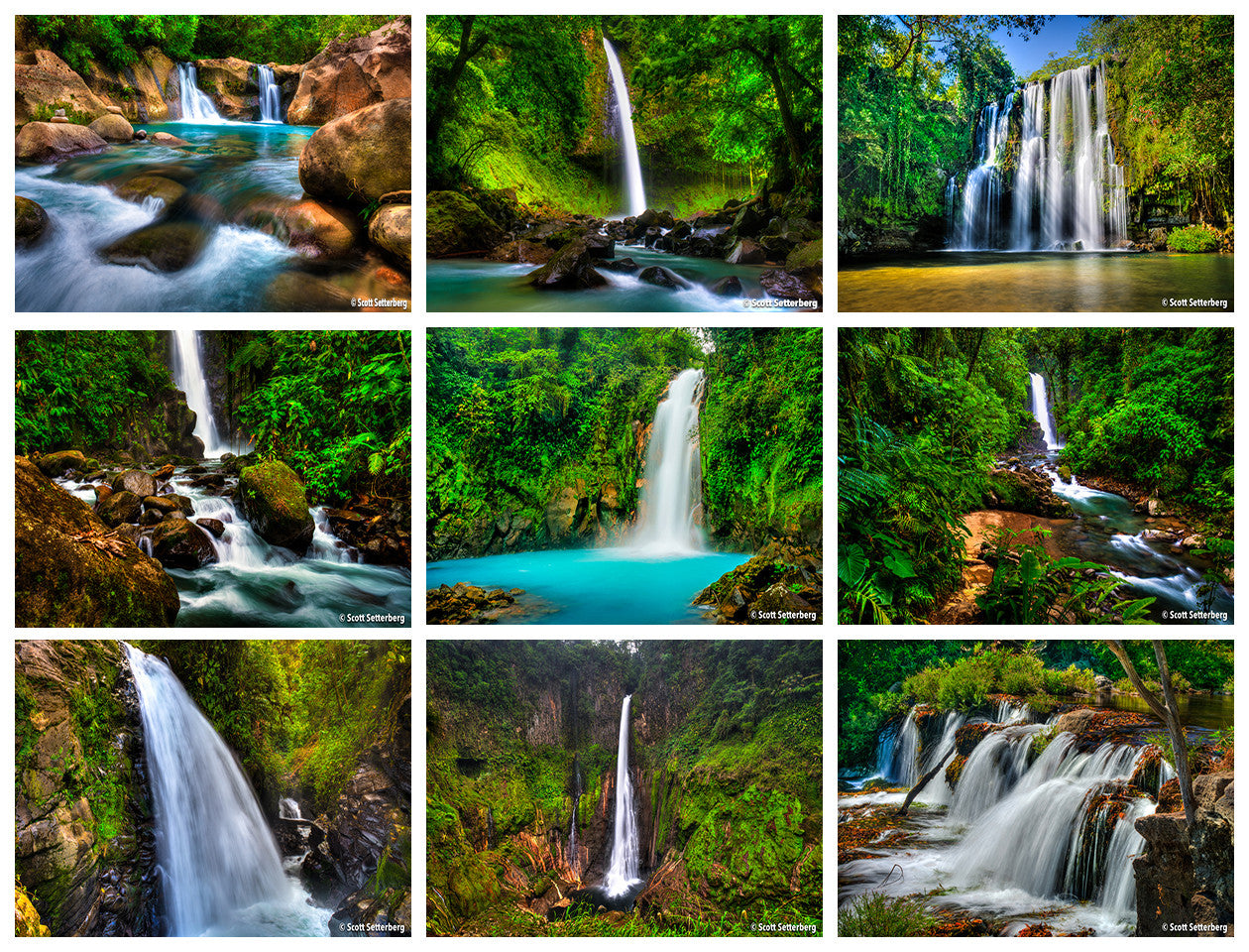 Costa Rica Amazing Waterfalls Photo Tour Grid