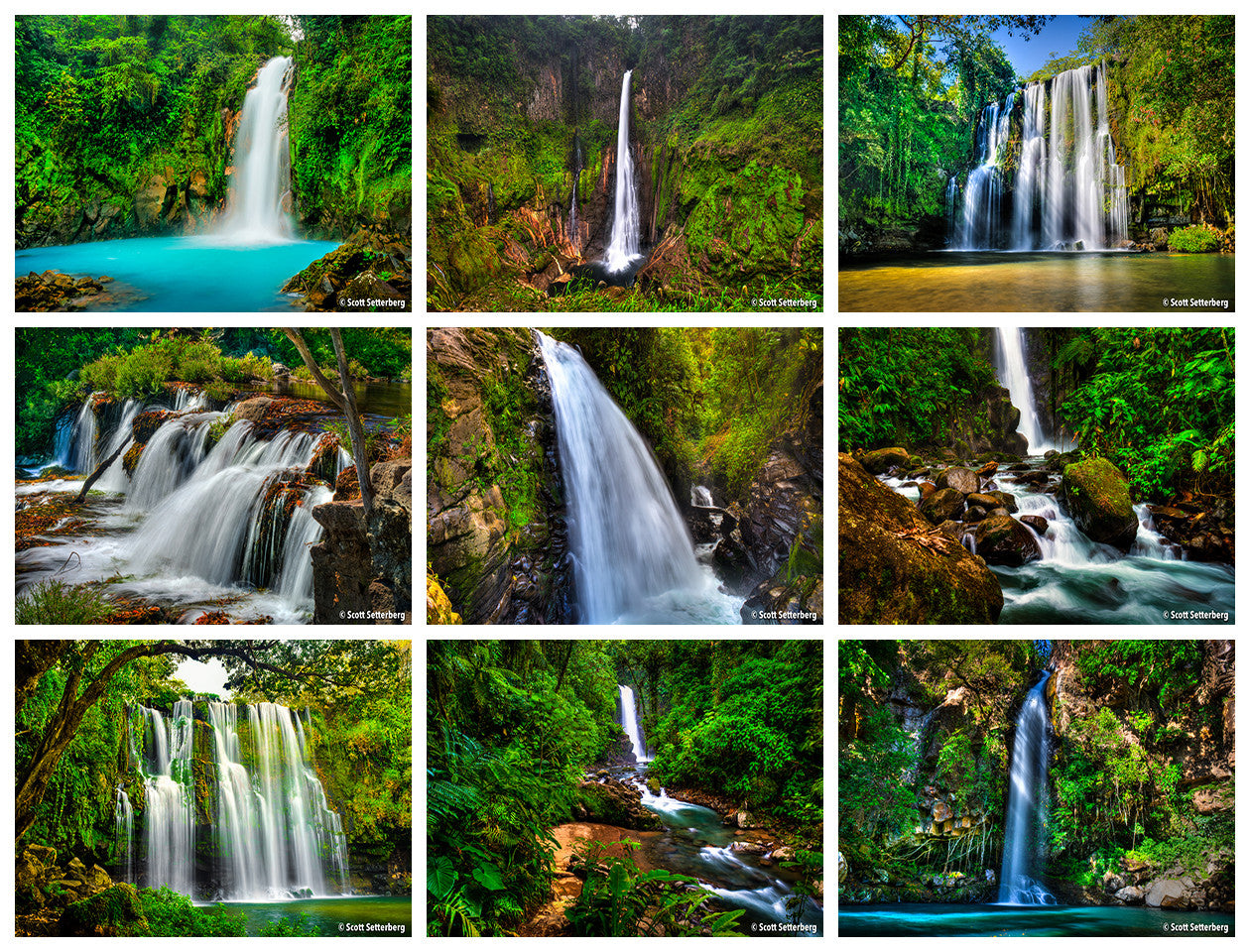 Costa Rica Colors Waterfall Photo Tour Grid