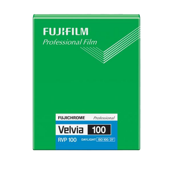 FUJIFILM Fujichrome Velvia 100, 4x5/20 Sheets, Color Film
