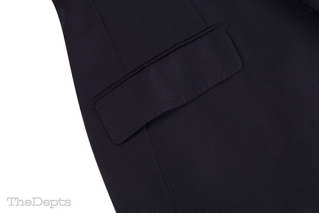 Black Solid Colored Standard Fit Wool Mens Suit - Peak Single Breasted Two-buttons