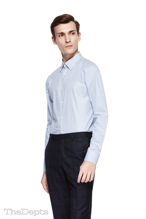 Blue Check Slim Fit Buttondown Collar Mens Shirt