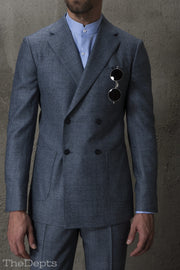 Blue Checkered Standard Fit Wool Mens Suit Jacket- Notch Double Breasted Four-buttons