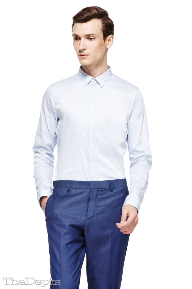 Blue Solid Colored Slim Fit English Spread Collar Mens Shirt