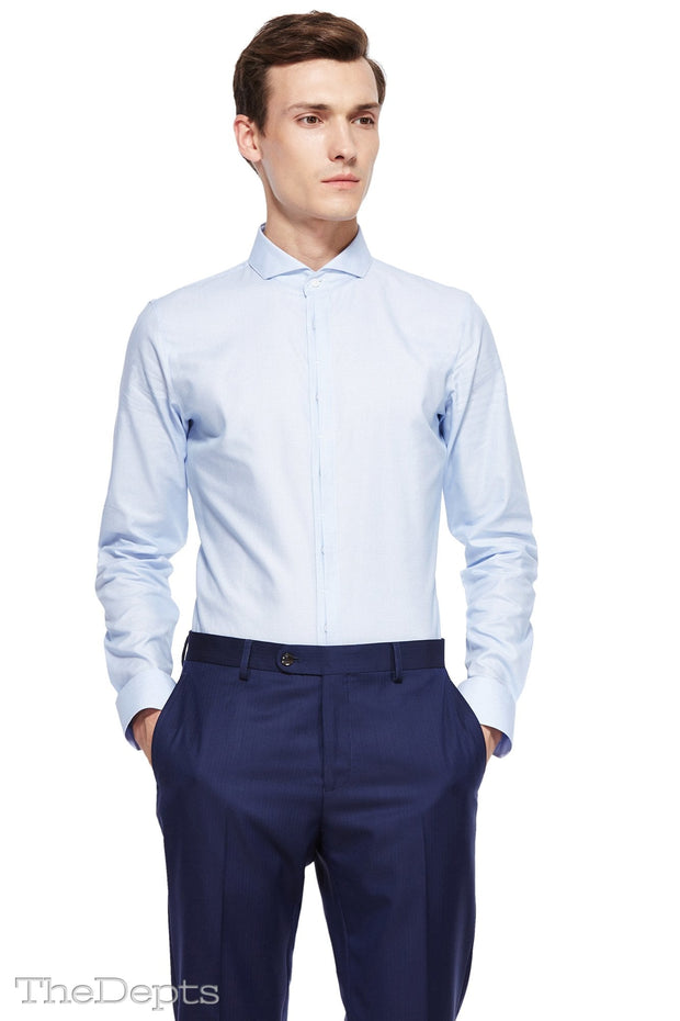 Blue Solid Colored Slim Fit Extreme Cutaway Collar Mens Shirt