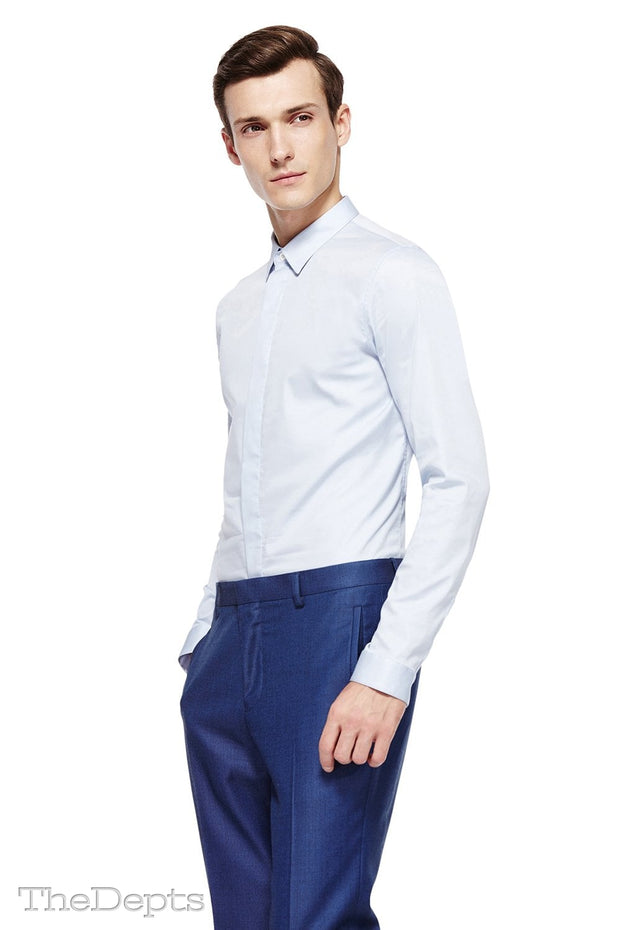 Blue Solid Colored Slim Fit Park Avenue Collar Mens Shirt