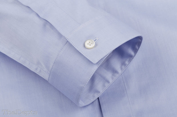 Blue Solid Colored Slim Fit Straight Collar Mens Shirt