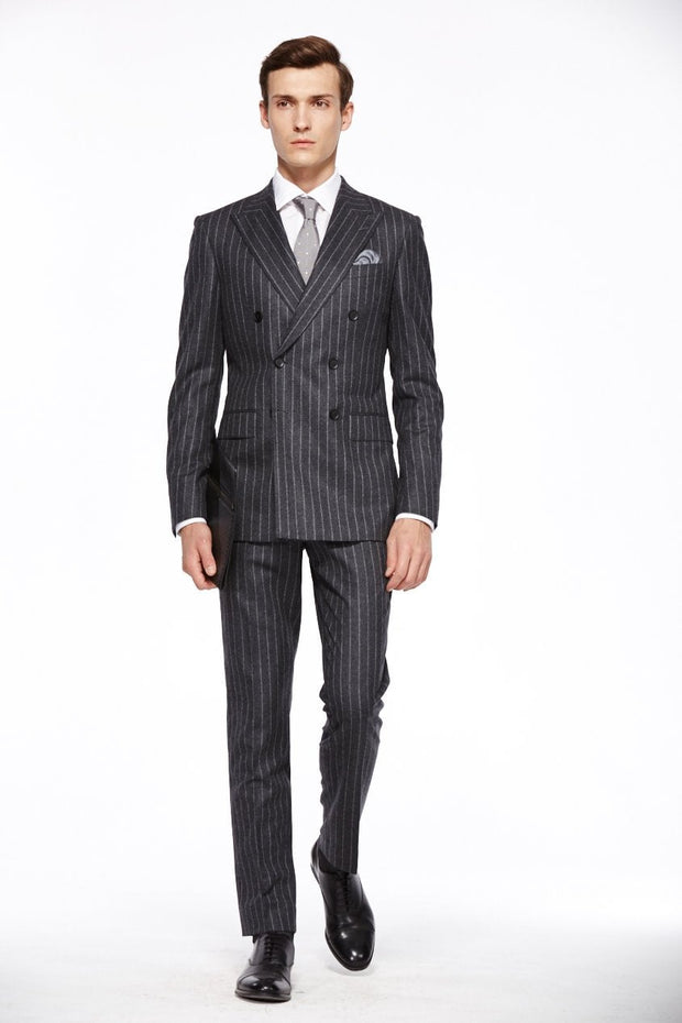Dark Gray Checkered Standard Fit Wool Mens Suit - Peak Double Breasted Six-buttons