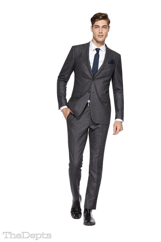 Dark Gray Solid Colored Standard Fit Wool Mens Suit - Notch Single Breasted Two-buttons