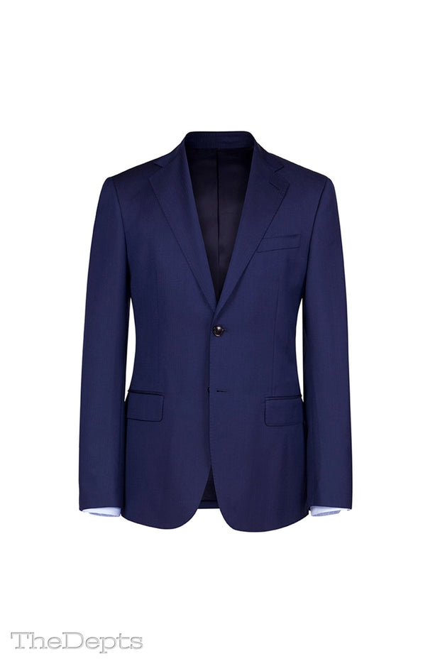 Dark Navy Solid Colored Standard Fit Wool Mens Suit - Notch Single Breasted Two-buttons