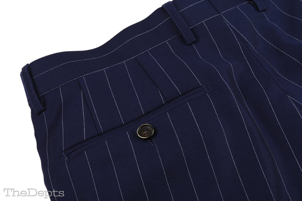 Dark Navy Striped Standard Fit Wool Mens Suit - Peak Double Breasted Six-buttons