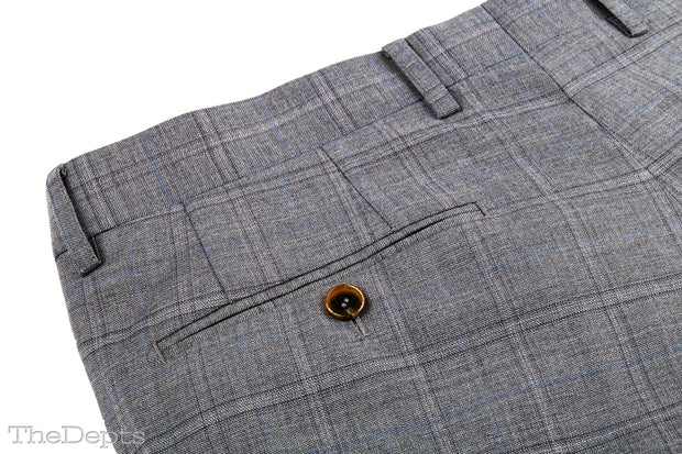 Gray Checkered Standard Fit Wool Mens Suit - Notch Single Breasted Two-buttons