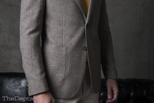 Light brown Checkered Standard Fit Wool Mens Suit Jacket- Notch Single Breasted Two-buttons