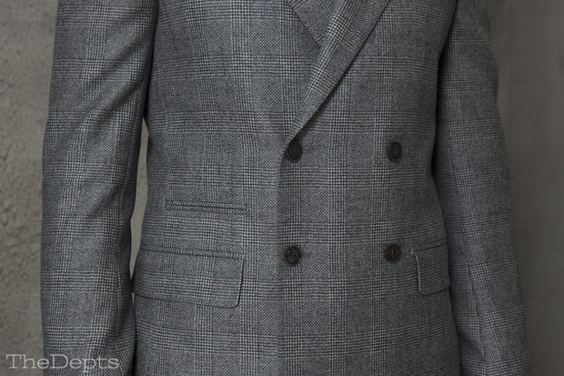 Light Gray Checkered Standard Fit Wool Mens Suit Jacket- Peak Double Breasted Four-buttons