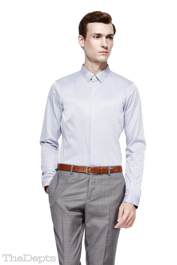Light Gray Solid Colored Slim Fit Park Avenue Collar Mens Shirt