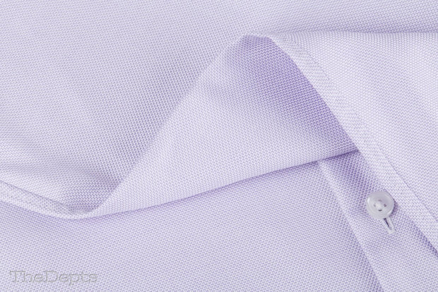 Light Purple Solid Colored Slim Fit Straight Collar Mens Shirt