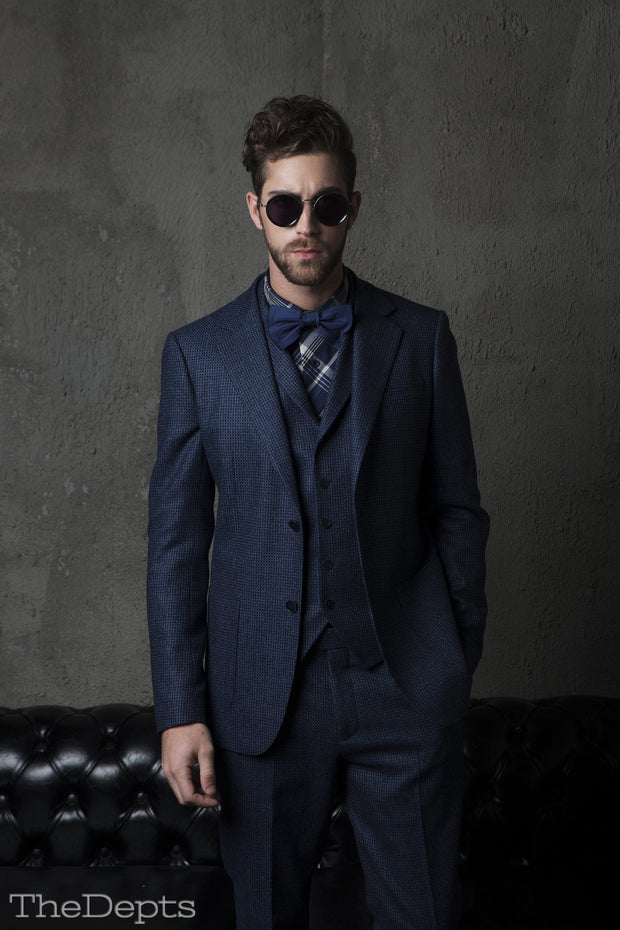 Navy Blue Checkered Standard Fit Wool Mens Suit Jacket- Notch Single Breasted Two-buttons