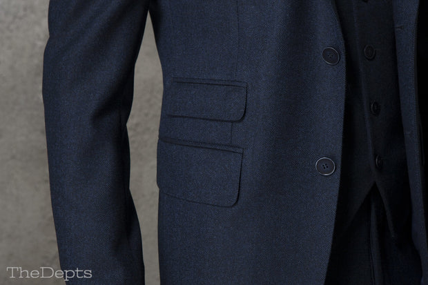 Navy Blue Solid Colored Standard Fit Wool Mens Suit Jacket- Notch Single Breasted Two-buttons