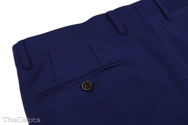 Navy Solid Colored Standard Fit Wool Mens Suit - Peak Single Breasted Two-buttons
