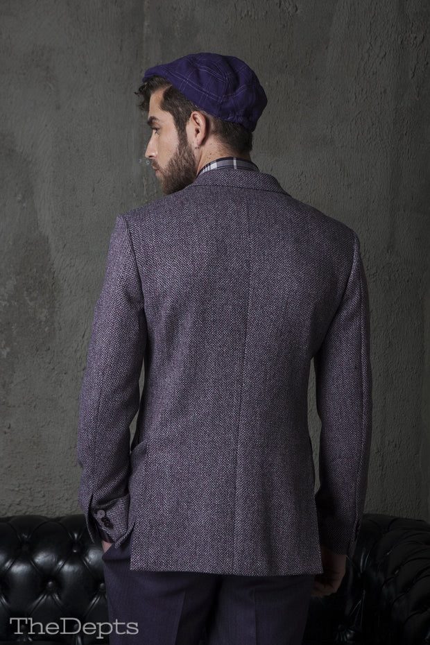 Purple Solid Colored Standard Fit Wool Mens Suit Jacket- Peak Double Breasted Six-buttons