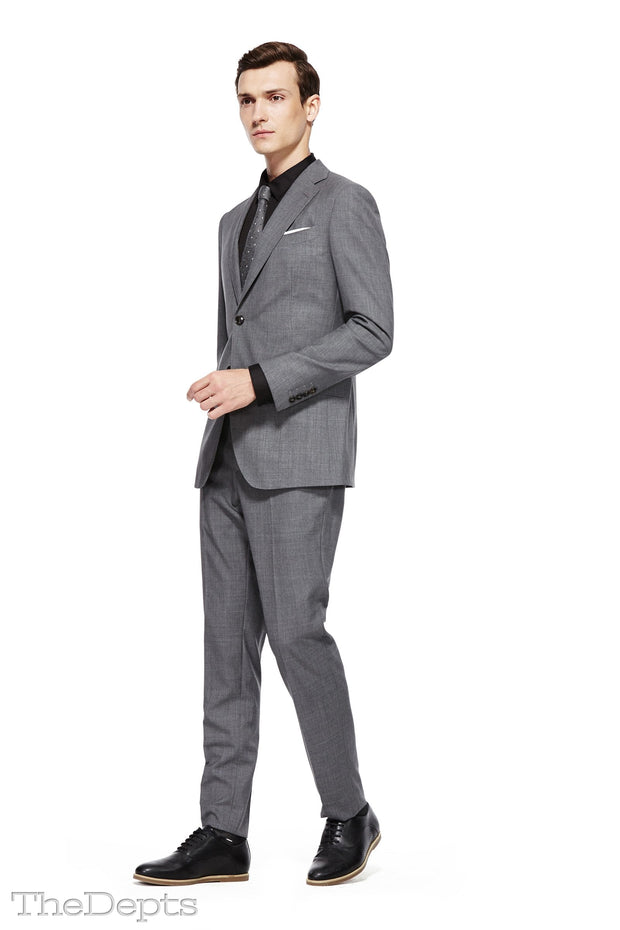 Silver Solid Colored Standard Fit Wool Mens Suit - Notch Single Breasted Two-buttons