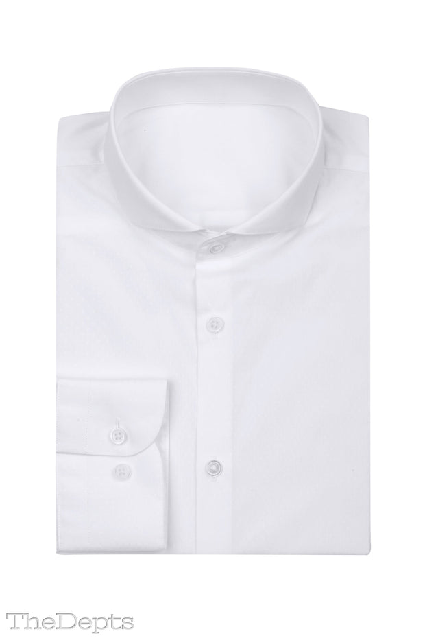 White Solid Colored Slim Fit Extreme Cutaway Collar Mens Shirt