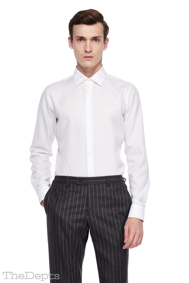 White Solid Colored Slim Fit Park Avenue Collar Mens Shirt
