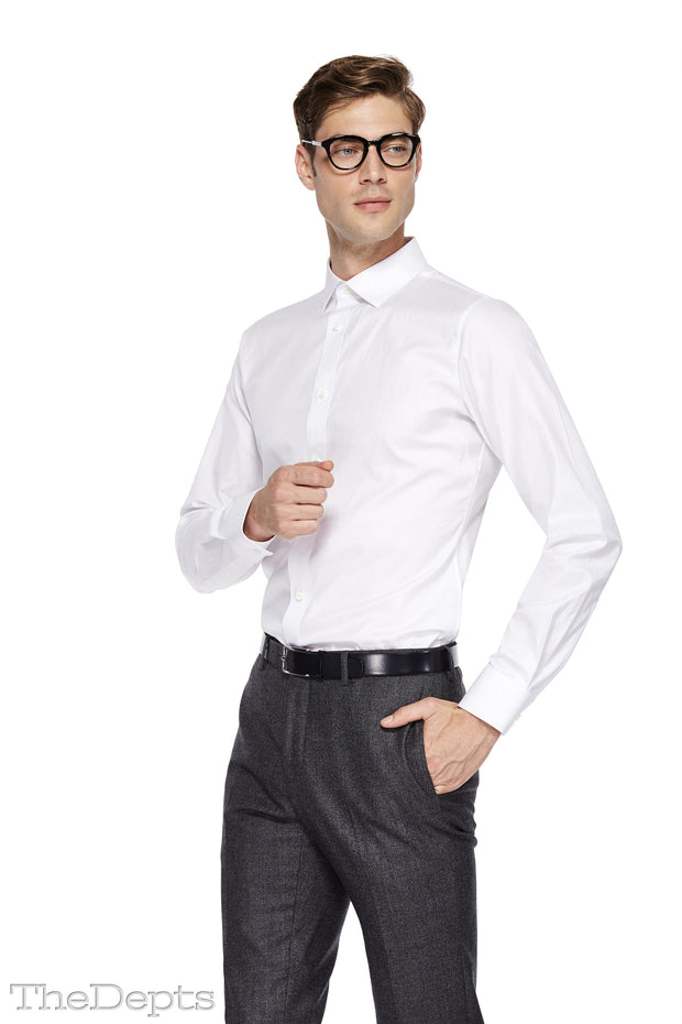 White Solid Colored Slim Fit Windsor Spread Collar Mens Shirt