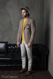 Yellow Solid Colored Standard Fit Wool Mens Suit Jacket- Notch Single Breasted Two-buttons