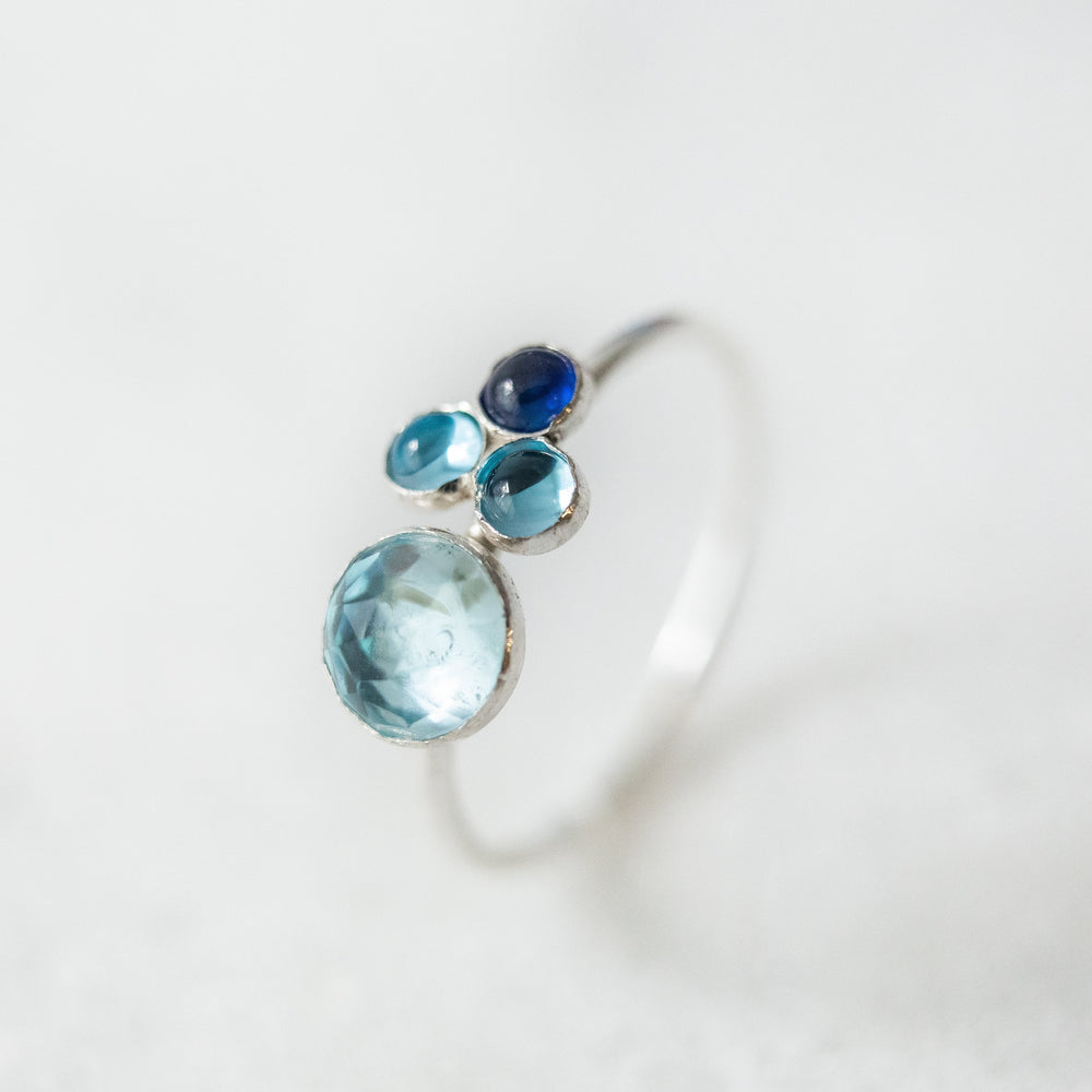 Blue multi-stone ombre ring