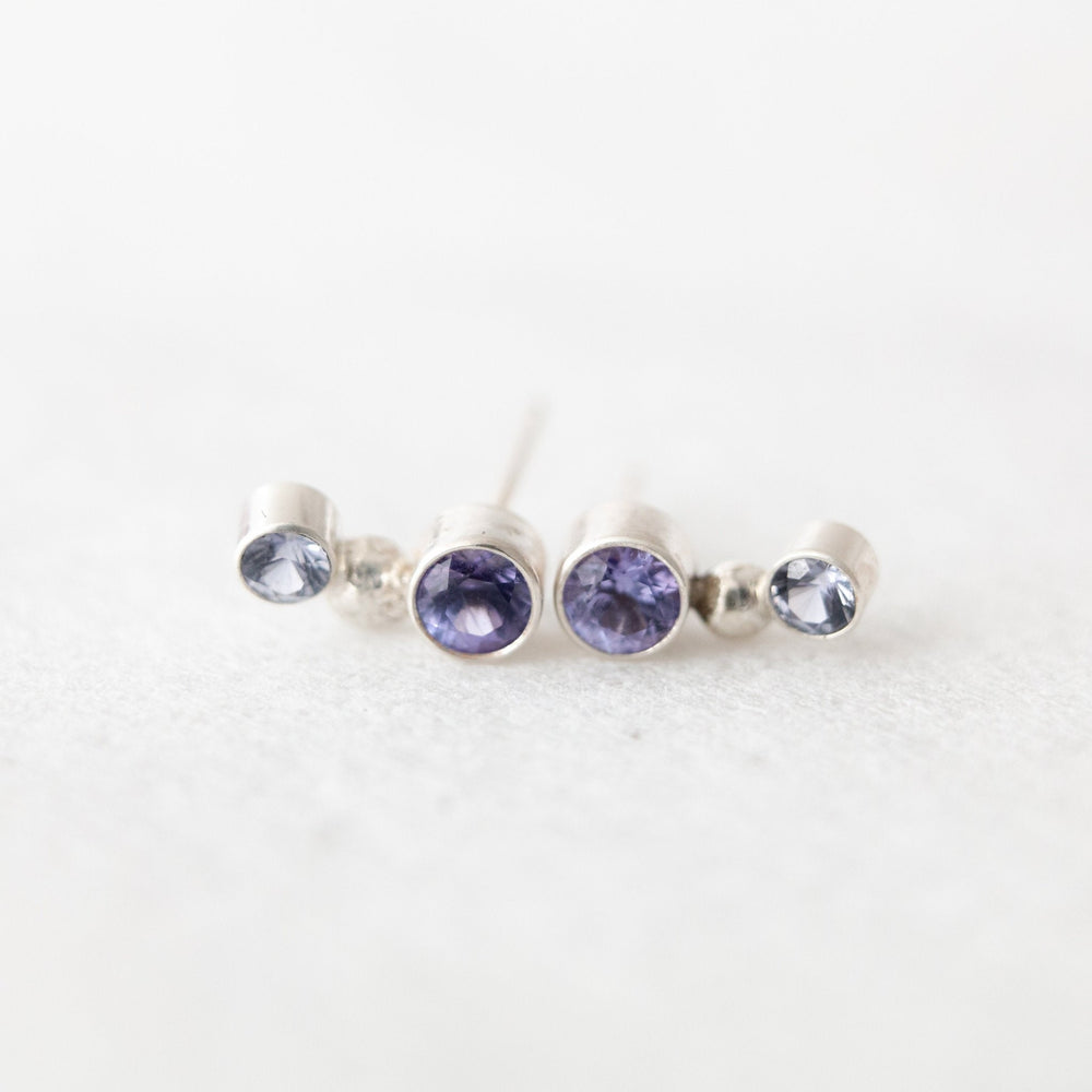 Blue-purple sapphire and tanzanite orbit ear climber stud earrings