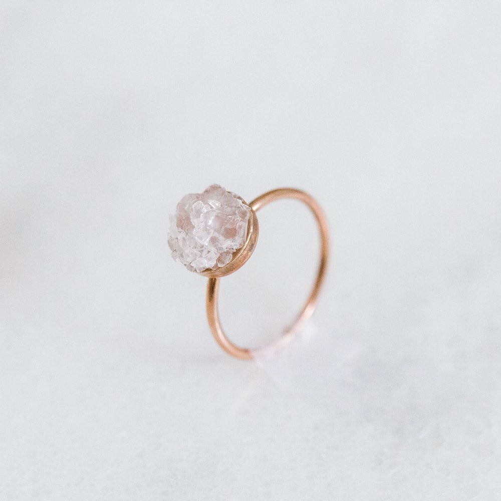 Raw rose quartz mosaic gemstone ring