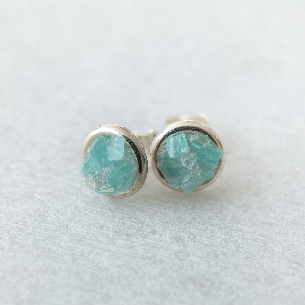 Raw amazonite mosaic sterling silver stud earrings - Luxe Zen Gems - luxe.zen