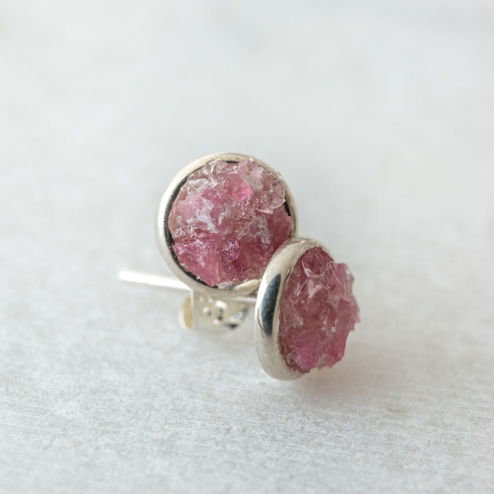 Raw pink tourmaline mosaic sterling silver stud earrings - luxe.zen