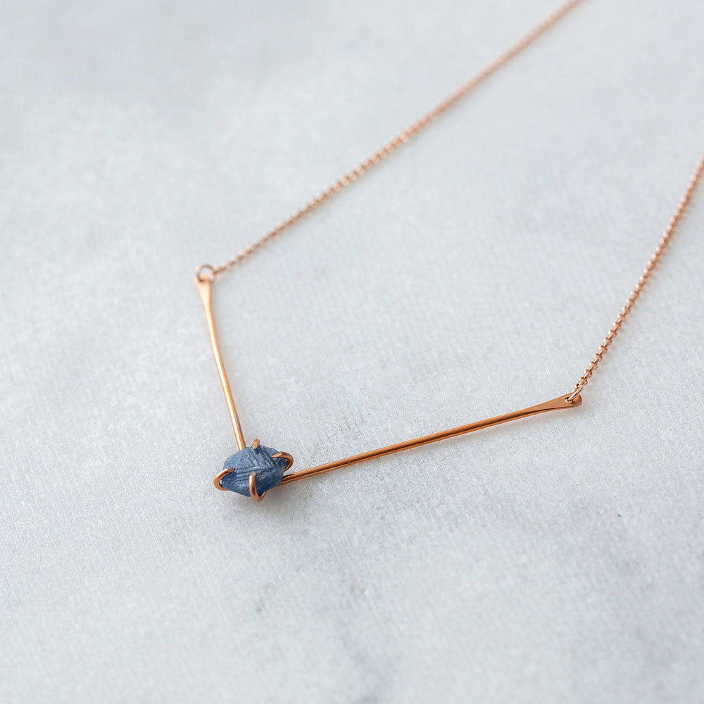 Raw sapphire V bar necklace