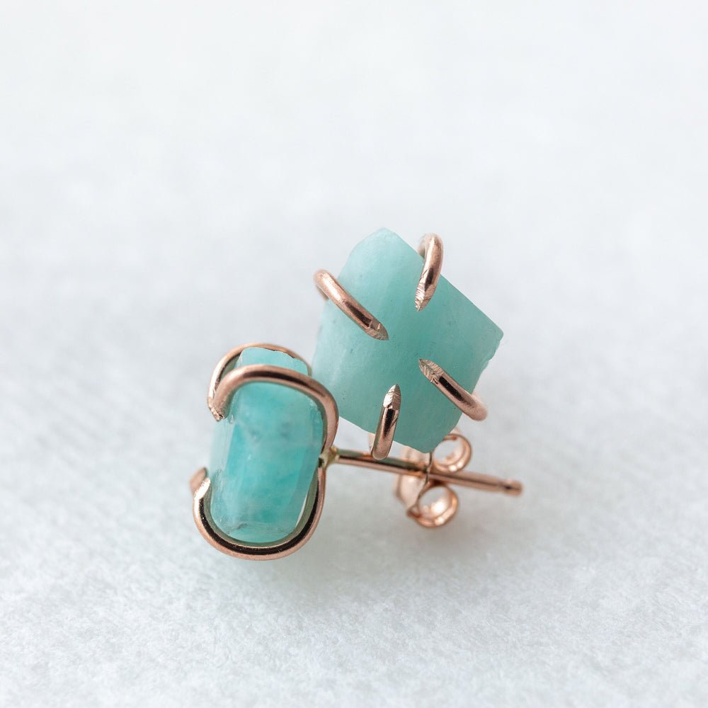 Raw amazonite earrings | rough amazonite gemstone stud earrings | sterling silver 14k yellow or rose gold fill | amazonite stud earrings