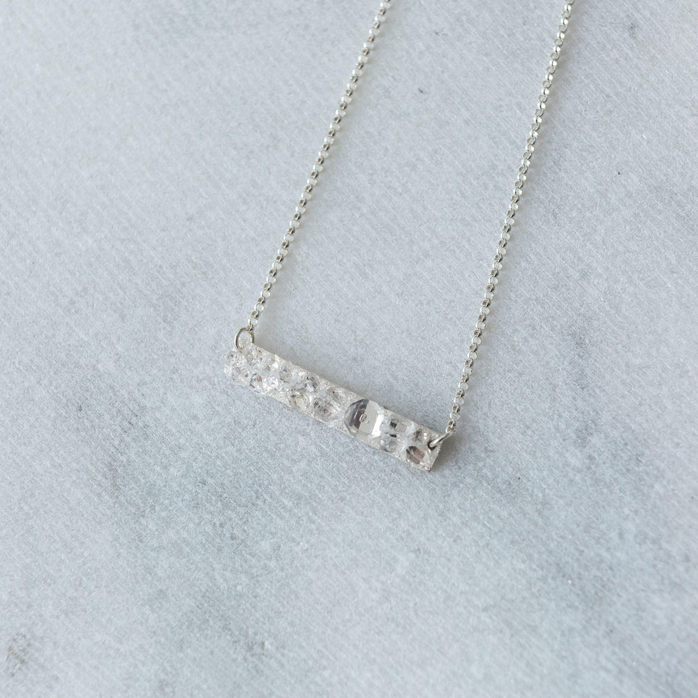 Herkimer Diamond mosaic mini bar layering necklace - luxe.zen
