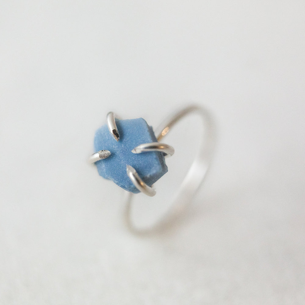 Raw blue opal gemstone solitaire ring