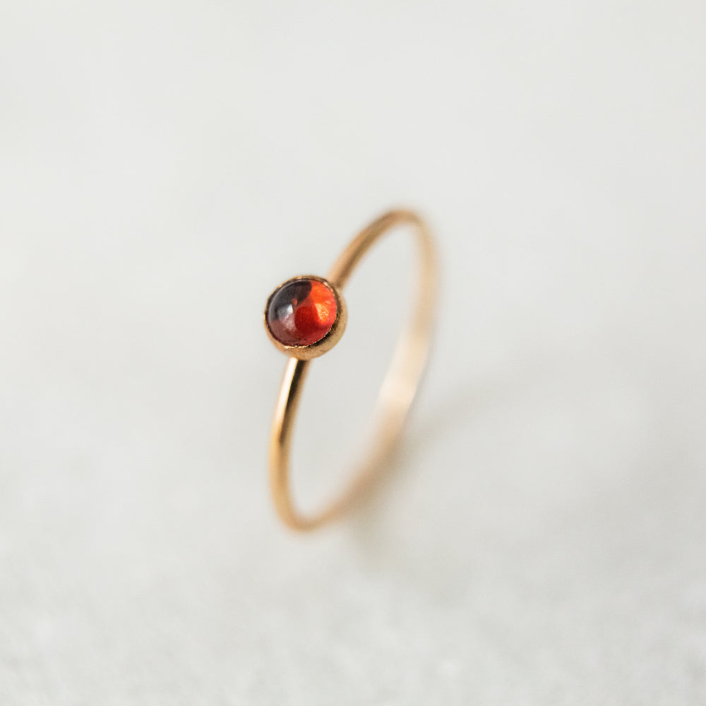 Garnet bezel stacking gemstone ring