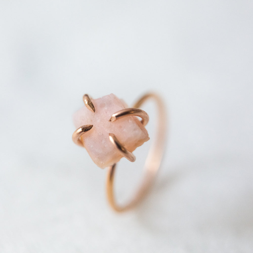 Raw pink opal gemstone solitaire ring